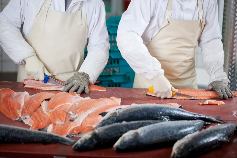 Two cooks cutting fish